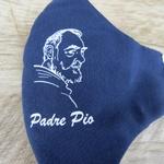 Máscara em Tecido - São Padre Pio Azul Marinho