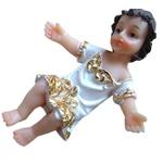 Enfeite Resina Menino Jesus Roupa Branca 7,5 cm