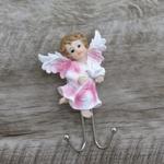 Anjinho com gancho em resina - rosa 14 cm