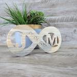 Placa Personalizada - Símbolo infinito Madeira 20X10
