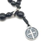 Pulseira Terço - Madeira Preta 4mm com medalha de São Bento