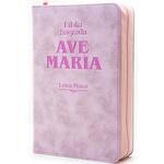 Bíblia Ave Maria com zíper rosa - Letra Maior