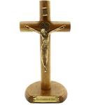 Crucifixo de Mesa Cilíndrica com São Bento 17cm - Eis o Cordeiro de Deus