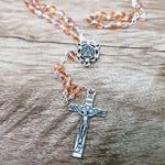 Terço Cristal Vidro Irisado Salmão Nossa Senhora Aparecida