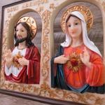 Quadro Sagrado Coração de Jesus e Maria - Enfeite resina 25 cm