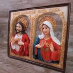 Quadro Sagrado Coração de Jesus e Maria - Resina