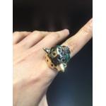 Anel Pantera Metal Lesprit 00033 Dourado Verde