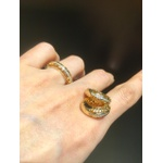 Conjunto Brinco e Anel Zircônia Lesprit 60100421 Dourado Cristal