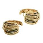 Conjunto Brinco e Anel Zircônia Lesprit 60010158 Dourado Multicor