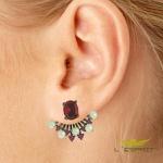 Brinco Ear Jacket Zircônia Pérola Lesprit Ródio Negro Rubi