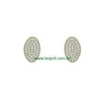 Brinco Argola Zircônia Lesprit Dourado Cristal Oval