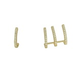 Brinco Kit de Ear Cuff Zircônia Lesprit U19K080161 Dourado Cristal
