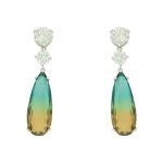 Brinco Zirconia Lesprit U18A030011 Ródio Cristal Rainbow Verde e Amarelo