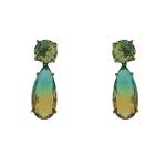 Brinco Zirconia Lesprit U18A030121 Ródio Negro Rainbow Verde e Amarelo