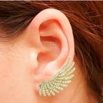 Brinco Ear Cuff Zircônia Lesprit LB22621 Dourado Cristal