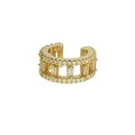 Brinco Piercing de Pressão Zircônia Lesprit LB22641 Dourado Cristal