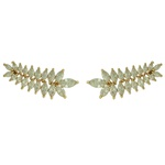 Brinco Ear Cuff Zircônia Lesprit LB23031 Dourado Cristal