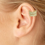 Brinco Piercing de Pressão Zircônia Lesprit LB23041 Dourado Cristal