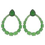 Brinco Zircônia Lesprit LB08031 Ródio Negro Verde Leitoso
