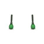 Brinco Zircônia Lesprit LB22321BOEMBK Ródio Negro Verde Esmeralda