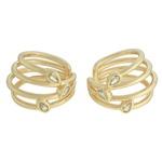 Brinco Ear Hook Zircônia Lesprit 68138031 Dourado Cristal