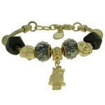 Pulseira Beloque Cristal Lesprit K03882-50780 Dourado Preto