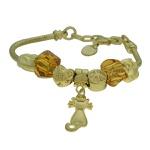 Pulseira Beloque Cristal Lesprit K03882-50560 Dourado Marrom