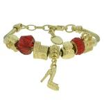 Pulseira Beloque Cristal Lesprit K03882-51020 Dourado Vermelho