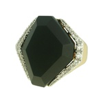 Anel Pedra Onix Zircônia Lesprit 00042 Dourado Cristal