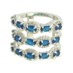 Anel Zircônia Lesprit LA05991 Ródio Azul Safira