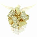 Anel Flor Zircônia Lesprit YP2893 Dourado Cristal