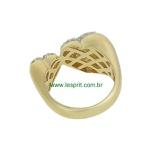 Anel Zircônia Lesprit DAE9731 Dourado Cristal