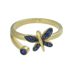 Anel Zircônia Lesprit DAE5901 Dourado Azul