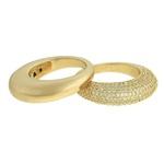 Anel Duplo Zircônia Lesprit 68115451 Dourado Cristal