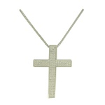 Colar Crucifixo Zircônia Lesprit LC01431WRH Ródio Cristal
