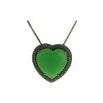 Colar Zircônia Lesprit LC02731 Ródio Negro Verde Leitoso