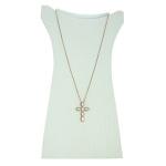 Colar Crucifixo Madrepérola Zircônia Lesprit LC03981WCORS Rosé Cristal