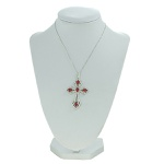 Colar Crucifixo Lesprit RUCL Ródio Cristal e Rubi