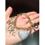 Pulseira Coração e Letra Zircônia Lesprit 60101101 Dourado Cristal