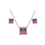 Conjunto Zirconia Lesprit U18A010261 Ródio Rainbow Roxo e Rosa