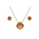Conjunto Zirconia Lesprit U18A010251 Dourado Rainbow Rosa e Amarelo