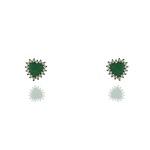 Conjunto Colar Zirconia Lesprit Rodio Negro Verde Leitosa