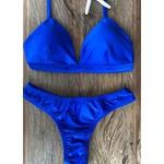 Biquíni Beach Larissa Azul Metálico Cirre