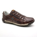 Sapato Masculino Casual Zíper e Elástico Palmilha Ortopédica 148/03 Brown