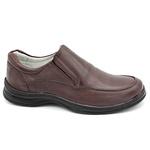 Sapato Confort Plus Bmbrasil De Couro Palmilha Em Gel Extra Leve 2711/02 Café