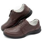 Sapato Confort Plus Bmbrasil De Couro Palmilha Em Gel Extra Leve 2712/02 Café