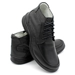 Sapato Confort Plus Bmbrasil De Couro Palmilha Em Gel Extra Leve 2713/01 Preto