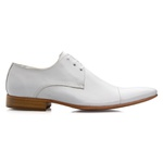 Sapato Social Masculino Estilo Italiano De Amarrar Branco Solado De Couro 307 Branco