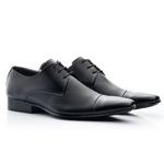 Sapato Social Masculino Couro Sola De Borracha De Amarrar 307 Preto Furos