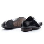 Sapato social de amarrar estilo italiano bico fino solado de couro 307 Preto